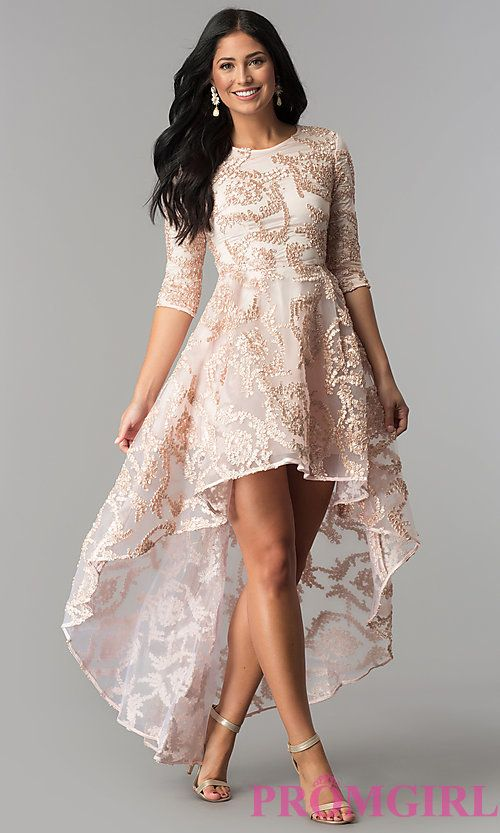 373255d952 Ribbon-Embroidered High-Low Party Dress in Blush Pink in 2019 | prom ...