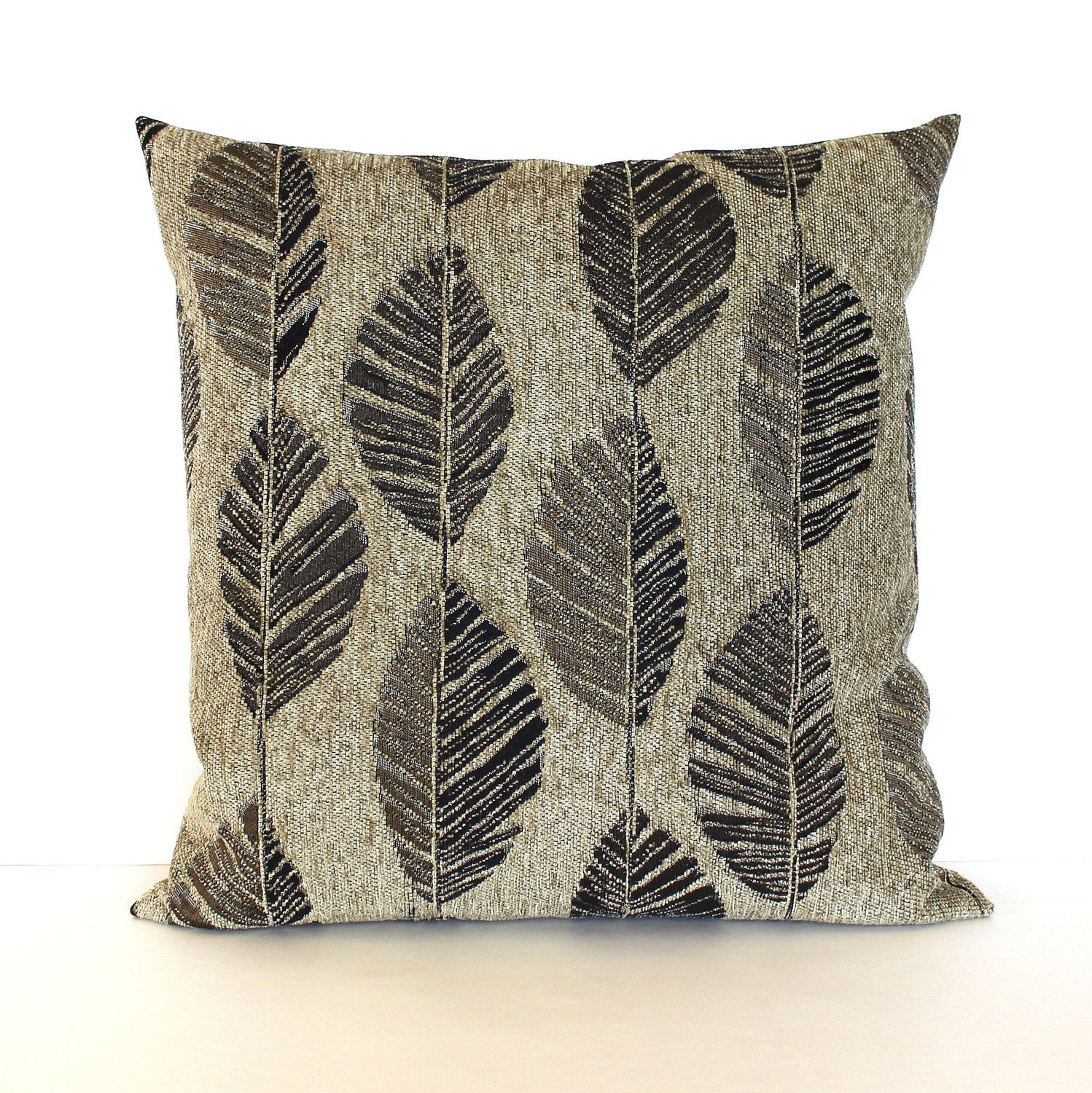 Brown Pillow Cover Contemporary Feather Leaf Upholstery Fabric ...