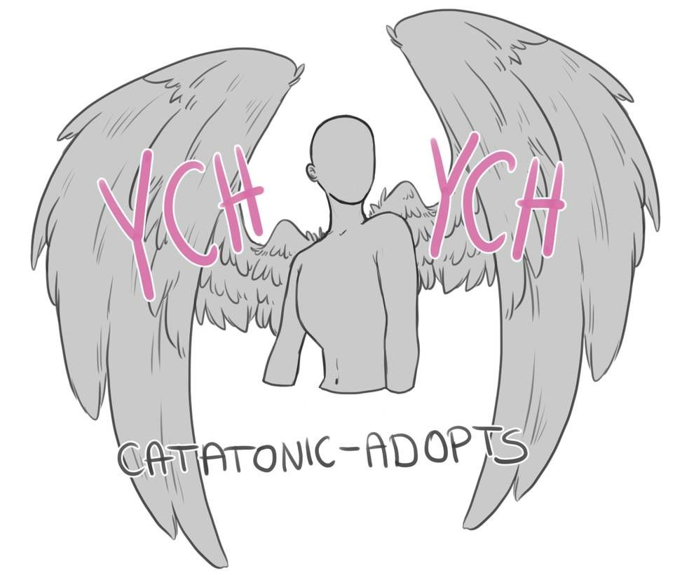 Ych Bustshot Winged Special Open By Catatonic Art In 2020 Wings Drawing Angel Wings Drawing Drawing Reference Poses