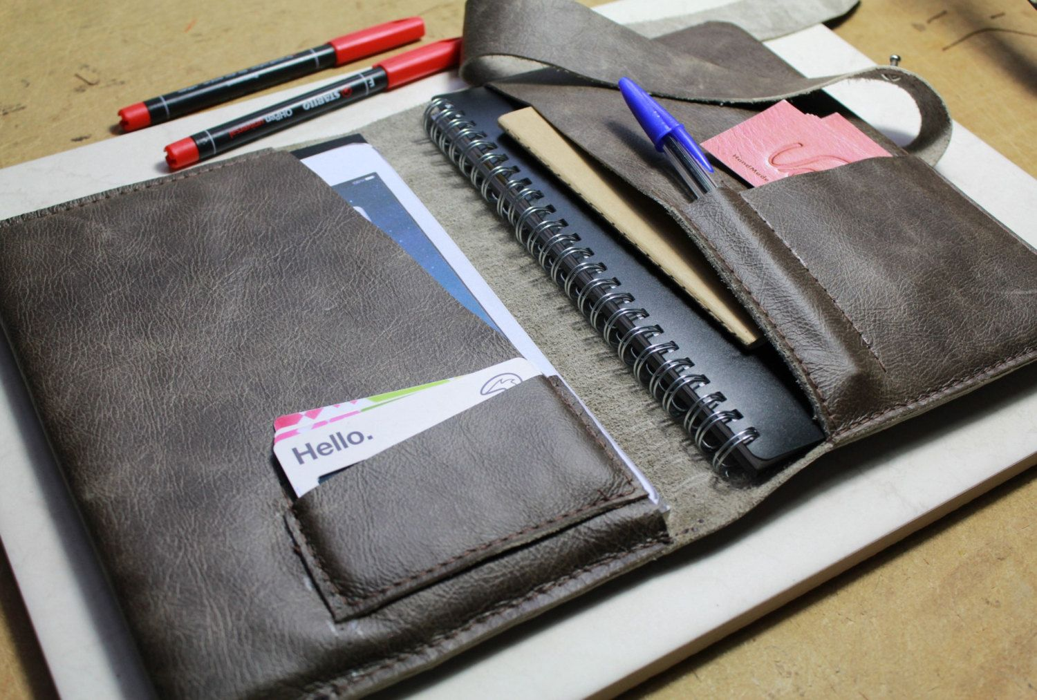 Leather notebook case (included) - Leather iPad case - Pen pocket ...