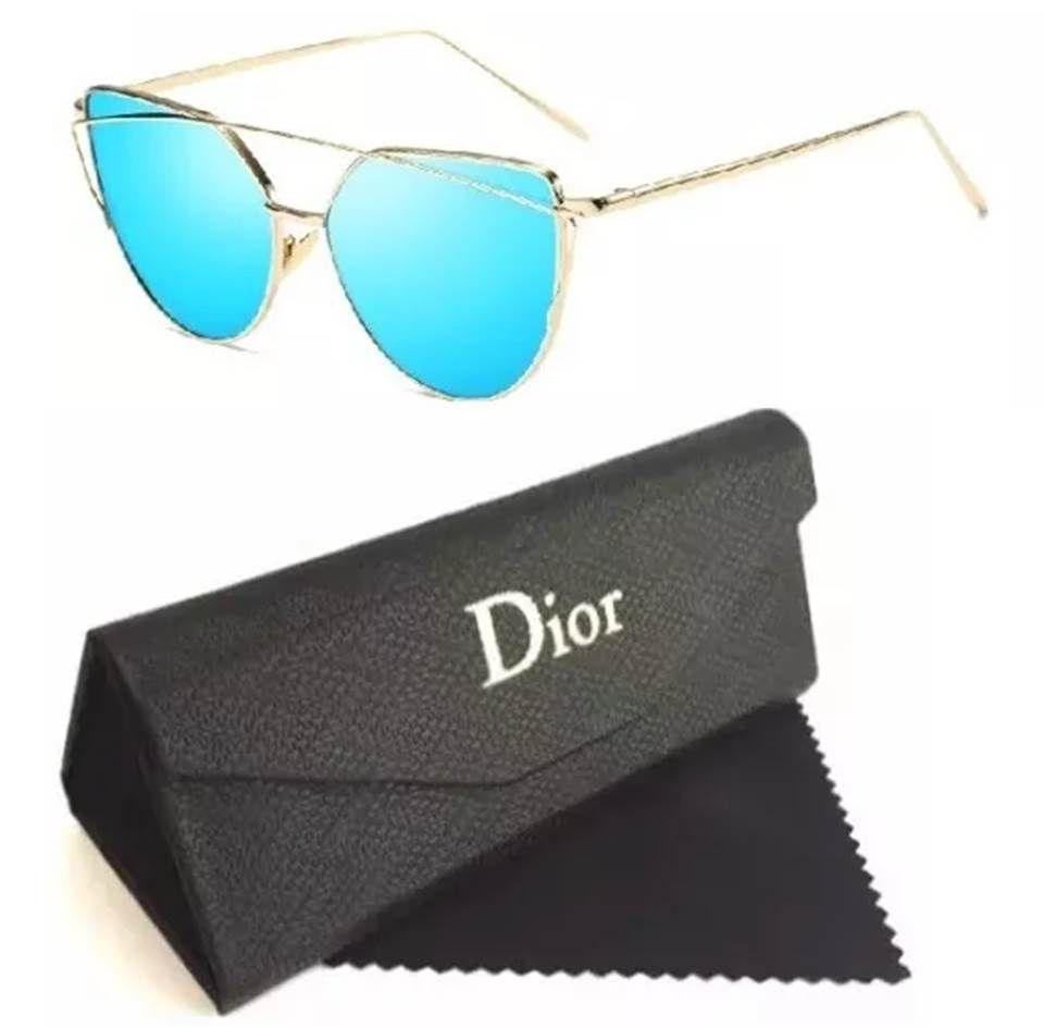 25ae05454 Replicas de óculos Dior feminino gatinho com lentes espelhadas e estojo da  marca Dior. Replicas