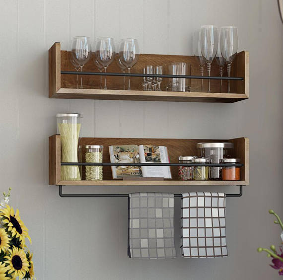 Woodworking Plans For Kitchen Spice Rack: Rustic State Wall Mount Wooden Kitchen Rack Metal Towel