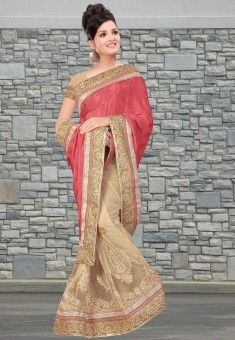 #Amazing Combination Of Pink & Beige!!!  #Dusty Pink And Beige Pure Crepe And Net Saree designed with Zari,Resham Embroidery With Stone Work And Lace Border. As shown Beige Chinon Crepe Blouse fabric is available which can be customized as per requirements.   INR 3462.00 Only With An Exclusive Summer Discount Shop Now@ http://tinyurl.com/po4flqb