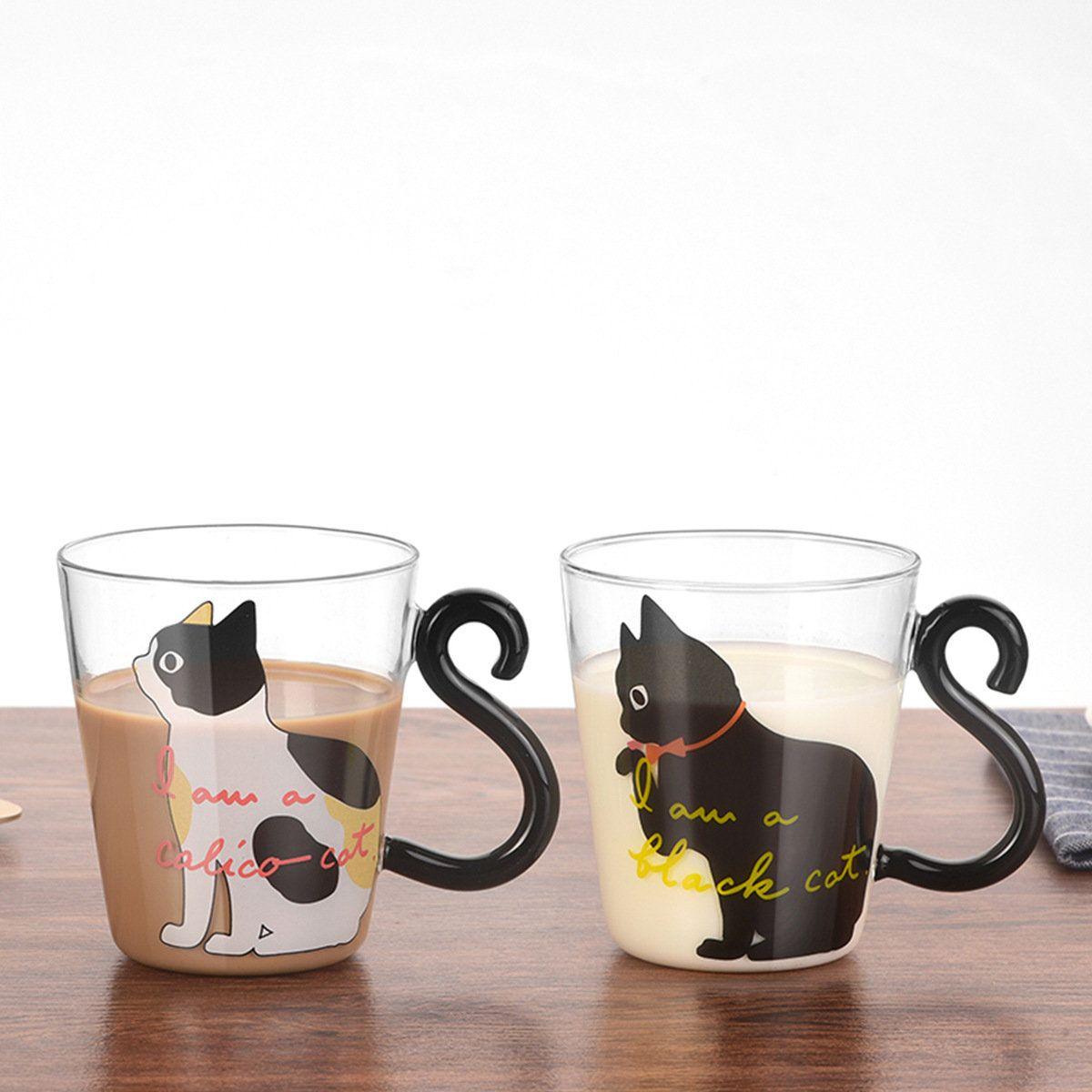 Discount Saiclehome Cat Glass Cartoon Children S Cup Creative Handle Coffee Cup Single Layer Transparent Juice Drink Cup Cat Coffee Mug Mugs Cat Coffee