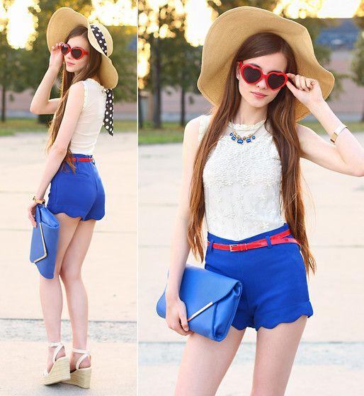 Bang Good White Lace Top, Romwe Blue Rippled Cuff Shorts, Vj Style ...