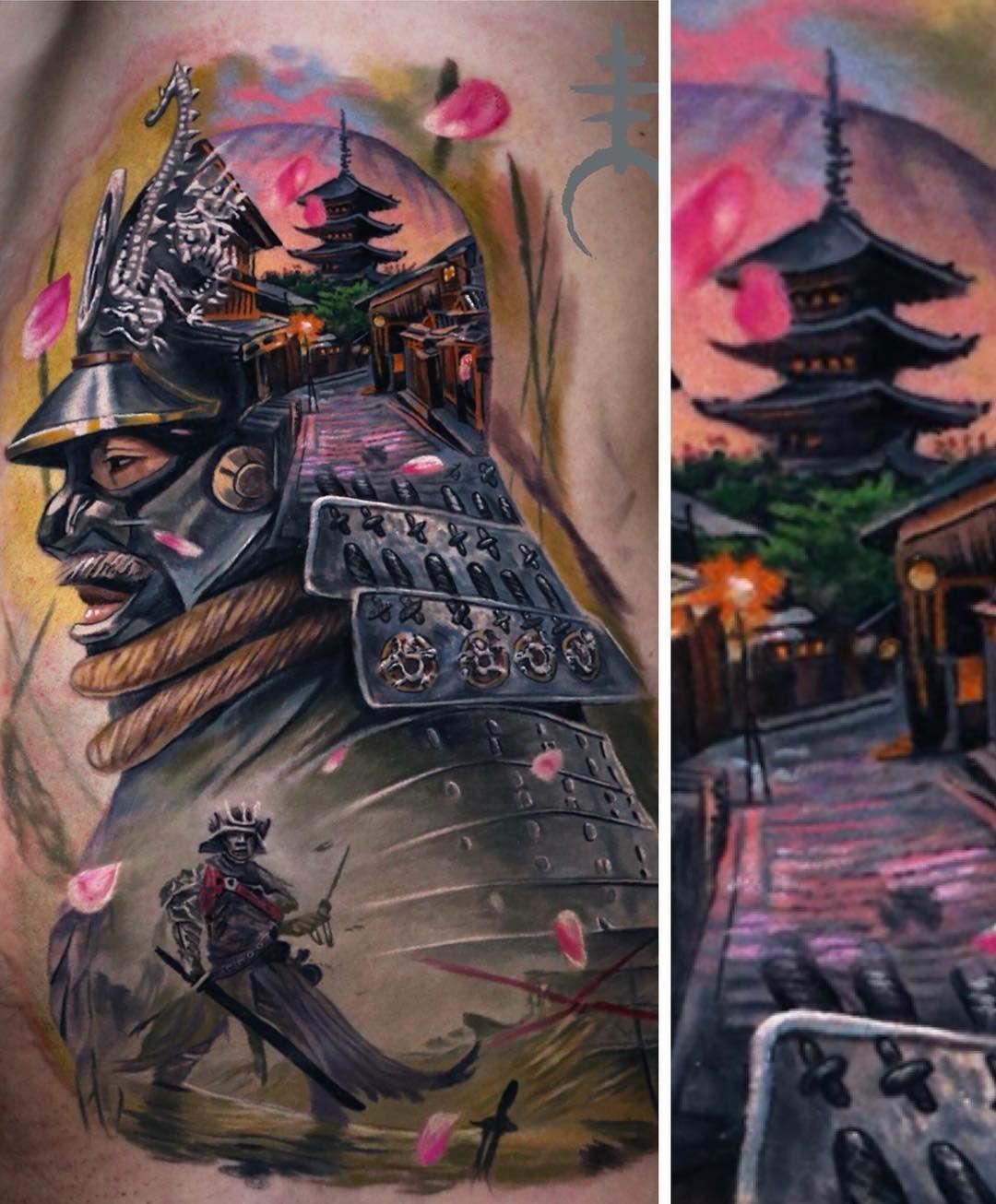 Color tattoo realism by El Mori Hình xăm nhật, Samurai