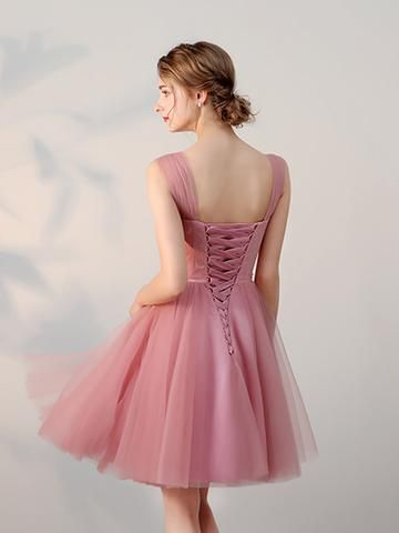ba49071bf7 Chic A-line Tulle Straps Short Prom Dress Pink Simple Lace Applique Homecoming  Dress AM238