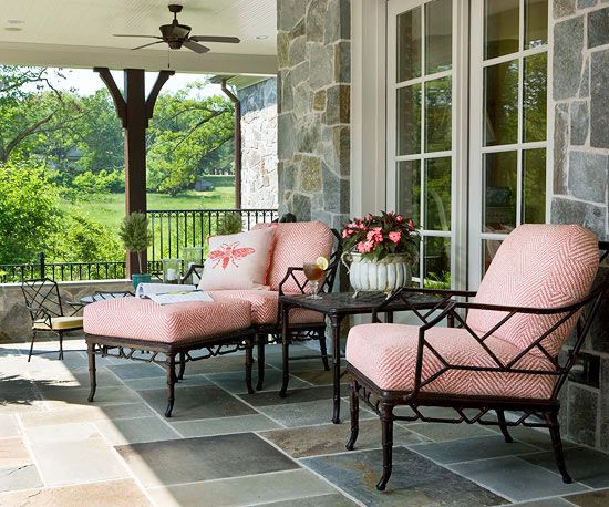 These trendy coral seat cushions add a splash of color to this porch! More outdoor porch ideas: http://www.bhg.com/home-improvement/porch/porch/outdoor-porch-design-and-decorating/?socsrc=bhgpin070313coralcushions=5