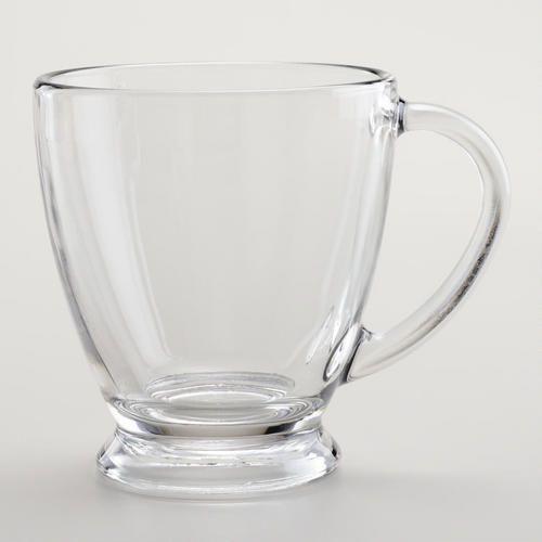 Perfect size and since it's made of glass, no need to worry about the type of glaze on porcelain or chemicals in plastic. One of my favorite discoveries at WorldMarket.com: Ava Glass Mugs, 12 oz. Set of 2