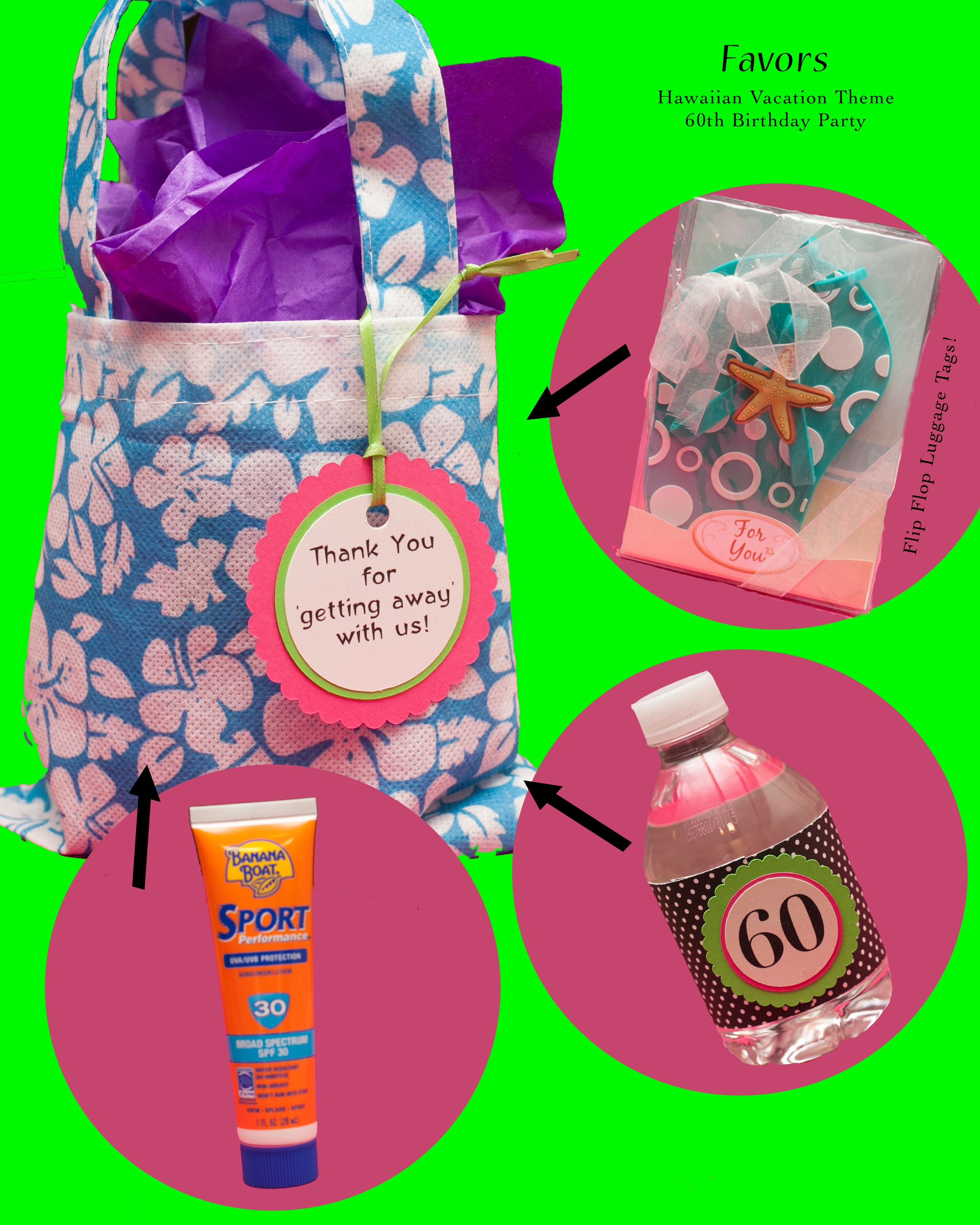 Mom\'s 60th Birthday Hawaiian Vacation Theme Favors included ...