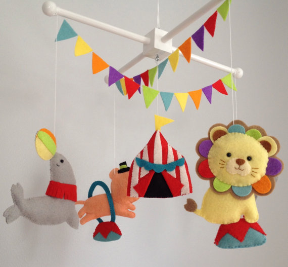 Baby Mobile Crib Nursery Decor Circus Felt Animals In The Top And