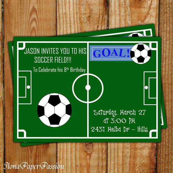 soccer invitation soccer birthday invitation by ilonapaperpassion 1000 - Soccer Party Invitations