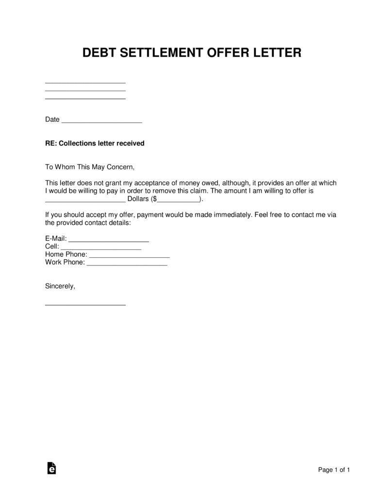 Free Debt Settlement Offer Letter Sample Template Word Pdf