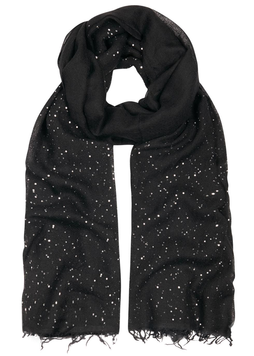 27b4c4c871ab3 Faliero Sarti black cashmere blend scarf Sequinned, frayed edges 50%  cashmere, 28% silk, 14% virgin wool, 8% polyester