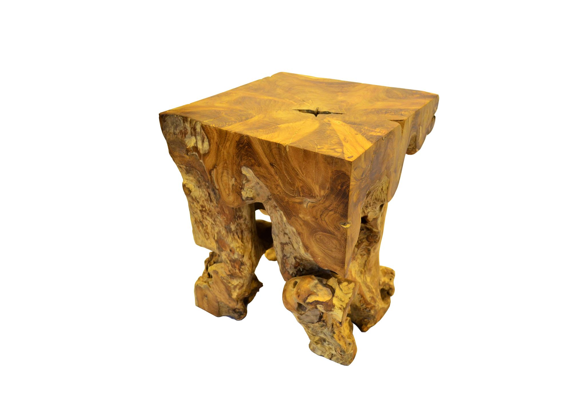 Square Root Stool A Teak A Versatile Teak Wood Root Stool That Can Be Doubled As A Side Or Coffee Table