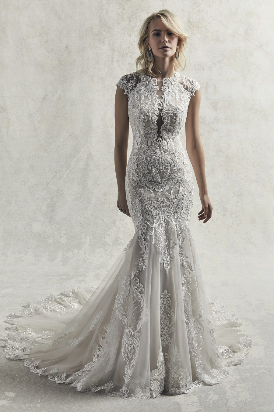 Sottero And Midgley Chauncey An Ultra Romantic Lace Wedding Gown This Soft Fit Sottero And Midgley Wedding Dresses Wedding Dress Store Modest Bridal Gowns