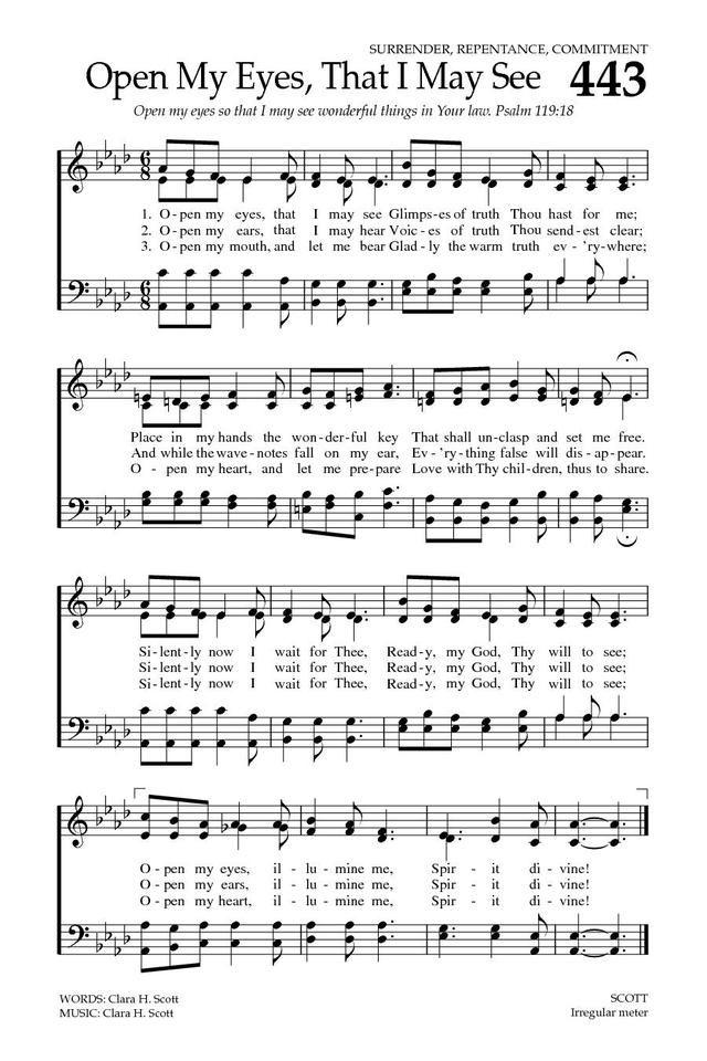 Baptist Hymnal 2008 443. Open my eyes. that I may see | Hymn sheet music. Hymns lyrics. Hymn music