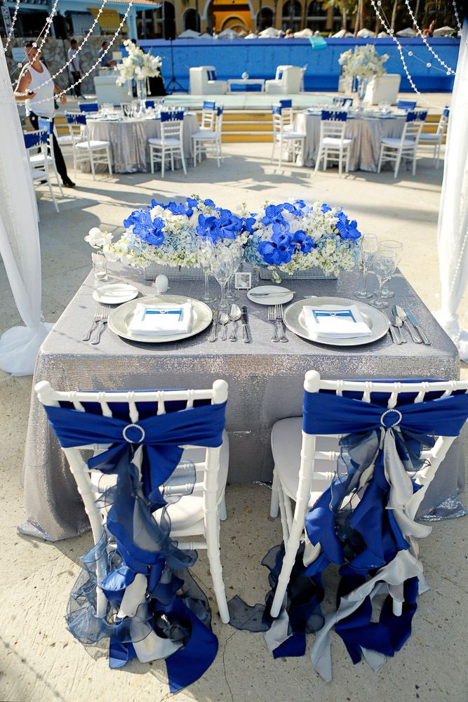 Bride And Groom Chair Decor Dreams Los Cabos Wedding Blue And Gray Royal Blue Wedding Blue Wedding Decorations Royal Blue Wedding Theme