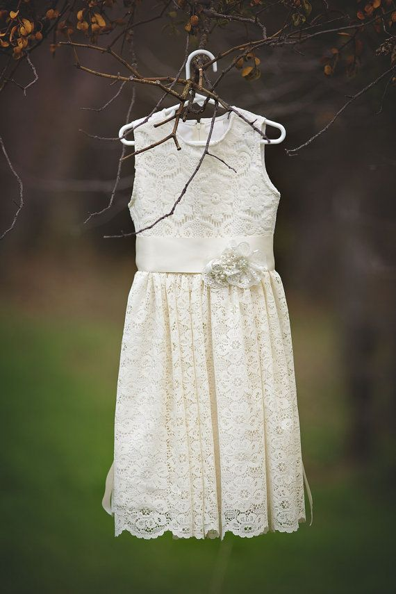 Ivory Lace Flower Girl Dress Vintage Lace by ...  Ivory Lace Vintage Flower Girl Dress