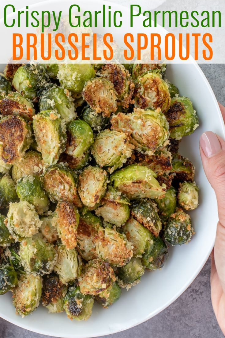 Crispy Garlic Parmesan Brussels Sprouts | With Peanut Butter on Top