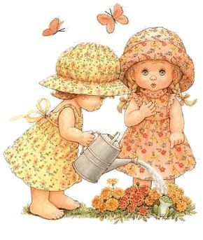 Ruth Morehead - Girls watering flowers