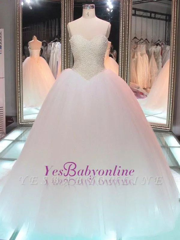 Glamorous Princess Tulle Pearls Ball-Gown Sweetheart Wedding Dress#ballgown #dress #glamorous #pearls #princess #sweetheart #tulle #wedding