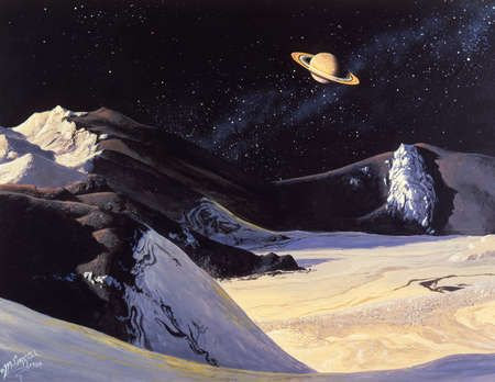 Illustration of the mountainous, icy surface of Iapetus, a satellite of Saturn, with a view of Saturn in the background.