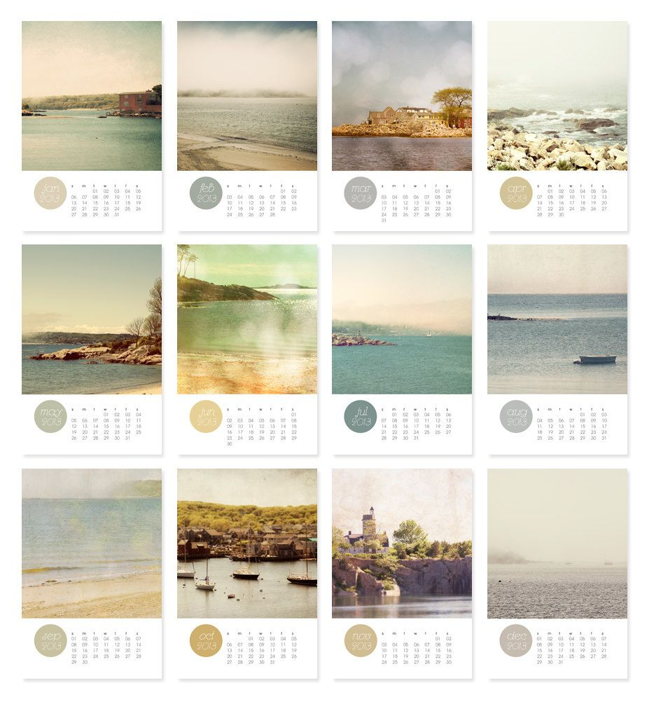 Http Www Etsy Com Listing 108487049 Beach Photography Calendar 2013 Ocean Calendar Design Calendar Layout Calender Design