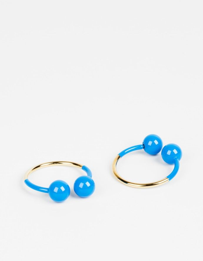 """Double Ball"" Hoop Earrings Golden brass metal and lacquer"