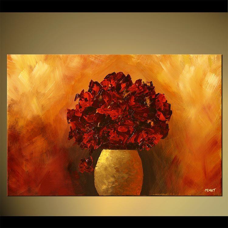Red Flowers In Vase Fl Decor
