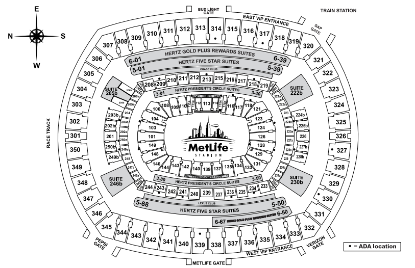 Metlife Seating Diagram Metlife Stadium Seating Charts Super Bowl Tickets