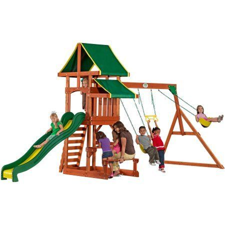 Backyard Discovery Tucson Cedar Wooden Swing Set backyard discovery tucson cedar wooden swing set - swings, slides