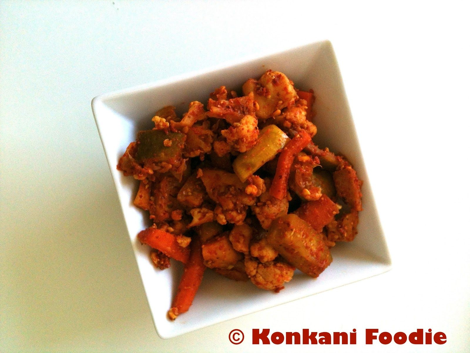 Konkani foodie mixed vegetable pickle without oil konkani style food forumfinder Image collections