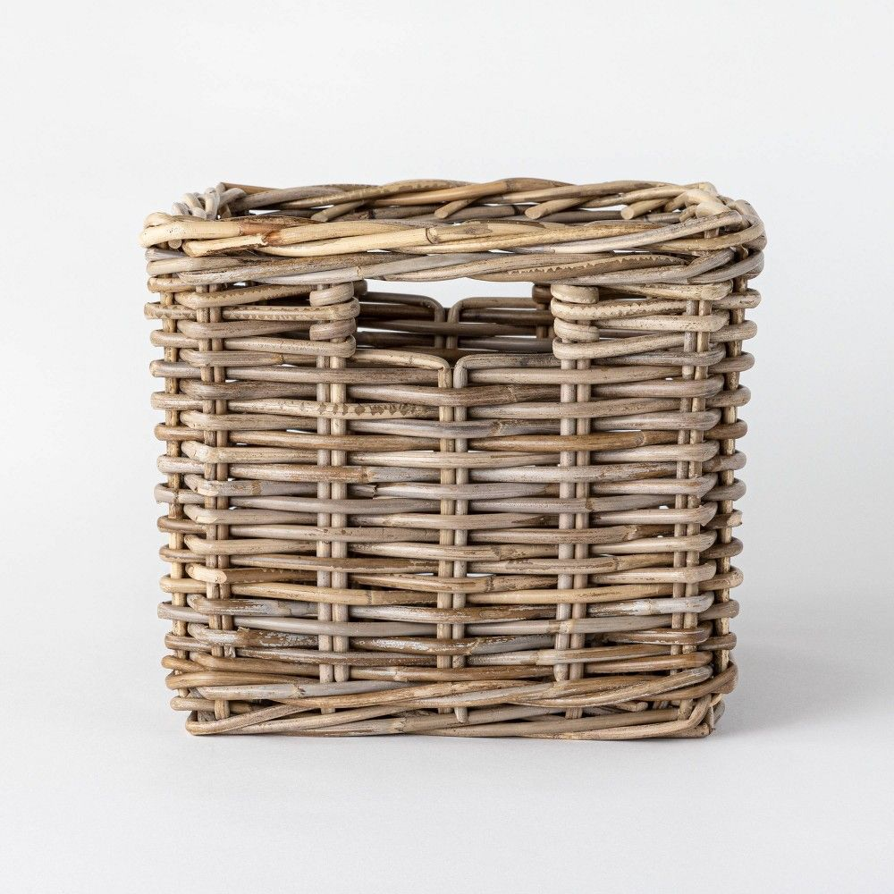 Decorative Kooboo Rattan Cube Basket 11 X 13 Threshold Designed With Studio Mcgee In 2020 Studio Mcgee Basket Rattan