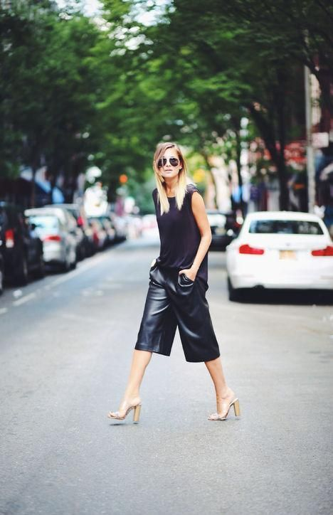 We Wore What's Danielle Bernstein in leather culottes and heels