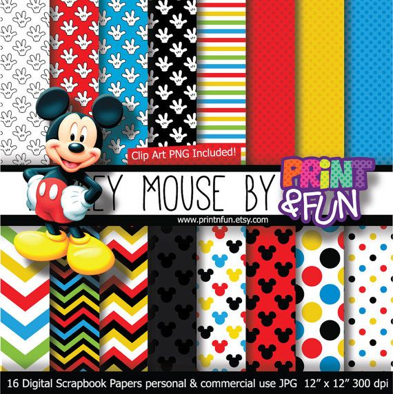MICKEY MOUSE Clubhouse Disney Digital Paper Patterns Background Black  Yellow Red Blue Chevron For Party Printables