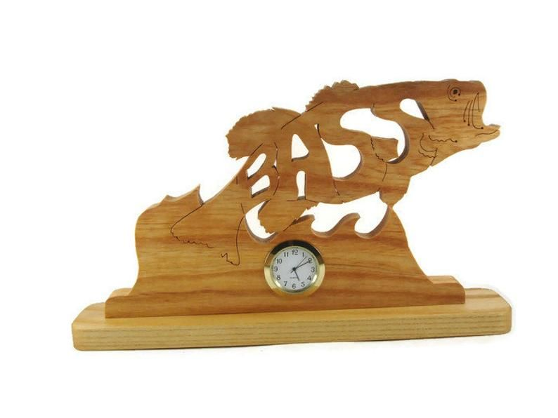 Bass Fish Desk Or Shelf Clock Handcrafted Using A Scroll Saw By