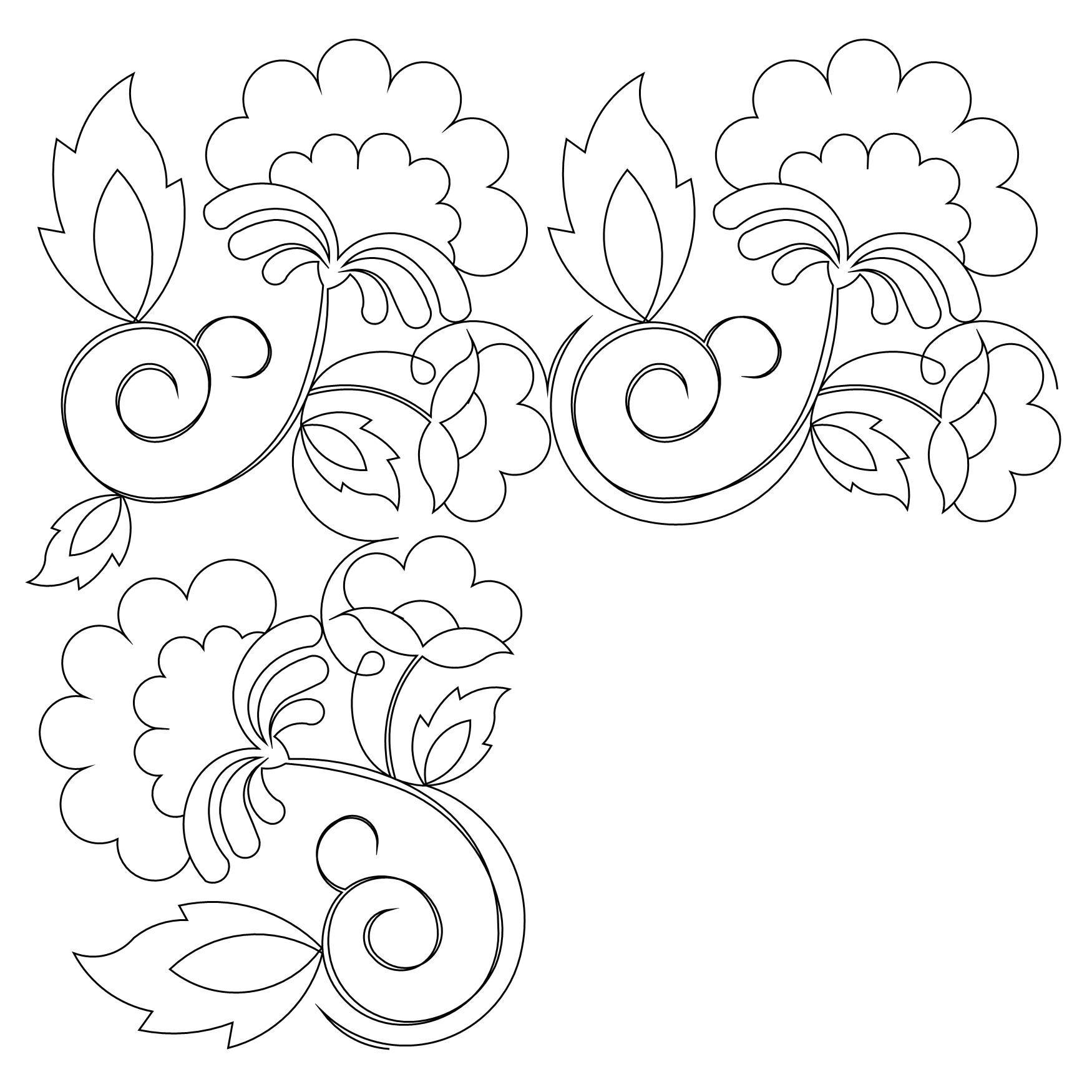 continuous line quilting design with Jacobean flair | Bordado ...