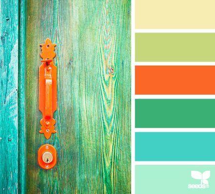 Tan Green Orange Blue Teal