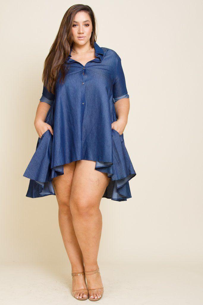 Plus Size Chambray Shirt Dress Products
