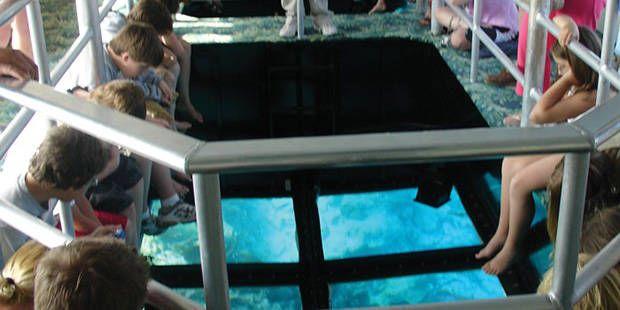 Barco com fundo de vidro em Key Largo