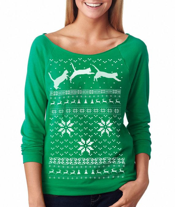8b5bb470ab078 CAT CHRISTMAS SWEATER -- Women s pullover cat raglan sweatshirt -- off the  shoulder women s size s m