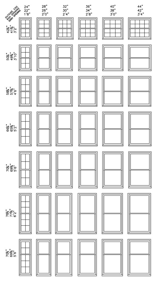 Standard Window Size Chart Sizes Double Hung
