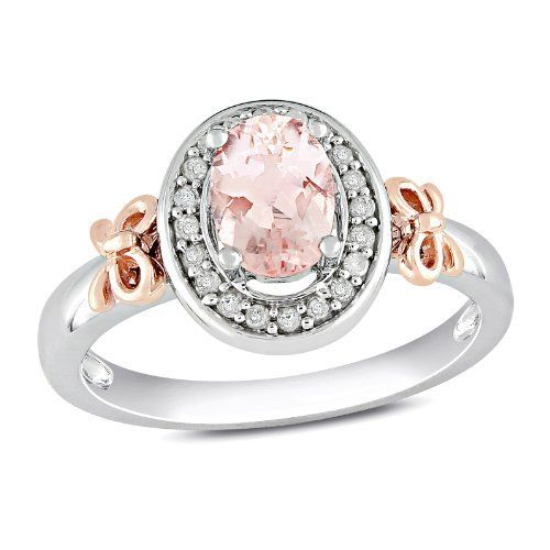 10k Rose Gold and Sterling Silver, Diamond and Morganite Bow Ring
