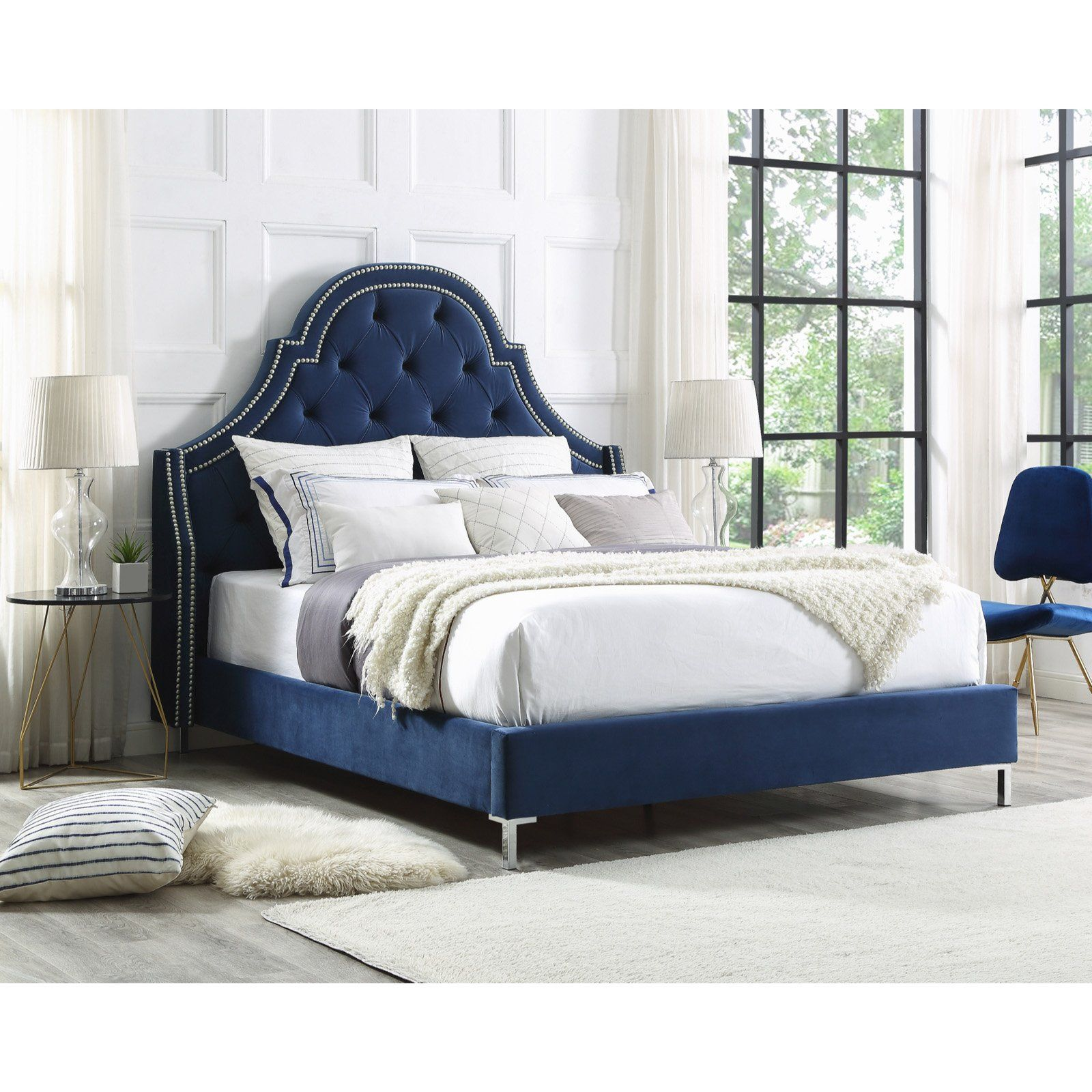 Inspired Home Juliana Velvet Upholstered Platform Bed Navy