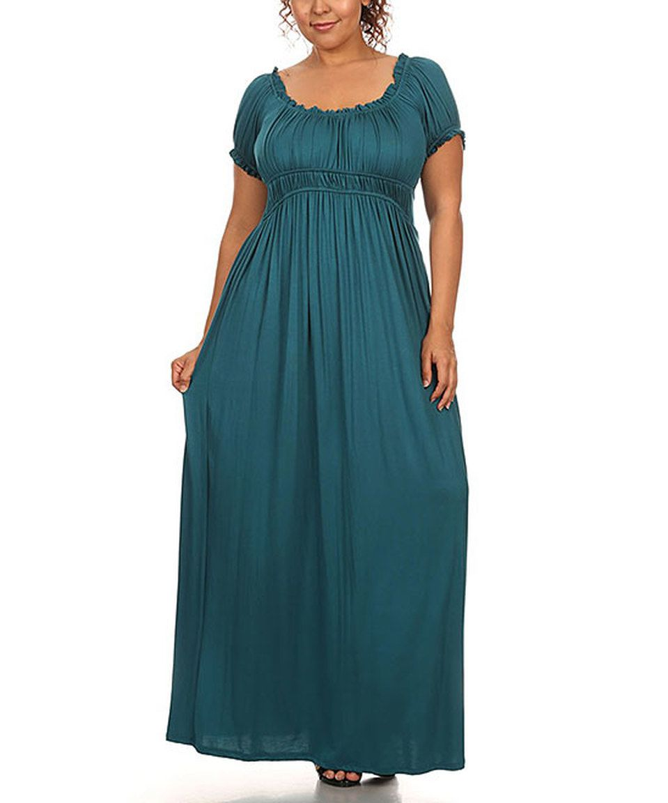 This CANARI Teal Ruched Maxi Dress - Plus by CANARI is perfect ...