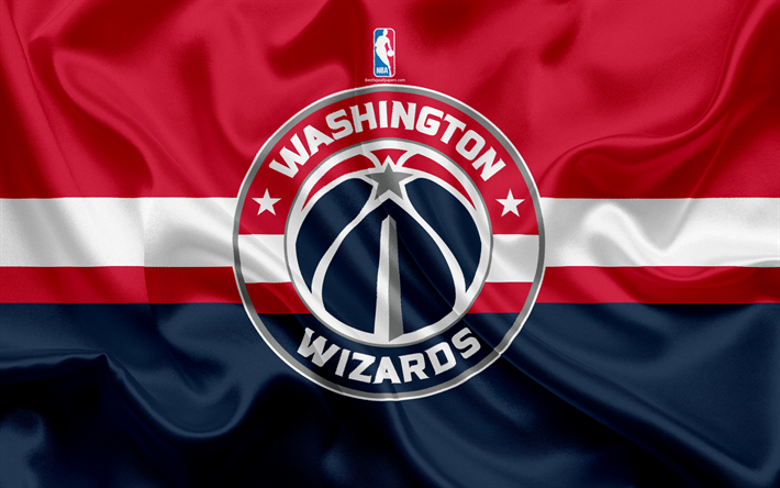 Download wallpapers Washington Wizards, basketball club, NBA, emblem, logo, USA, National Basketball Association, silk flag, basketball, Washington, US basketball league, South East Division