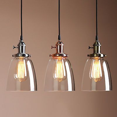 Retro Antique Copper Cafe Bar Metal Pendant Lamp Glass Cone Shade - Kitchen pendant lighting glass shades