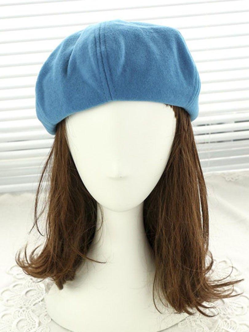 Blauer Wolle Achteckiger Hut
