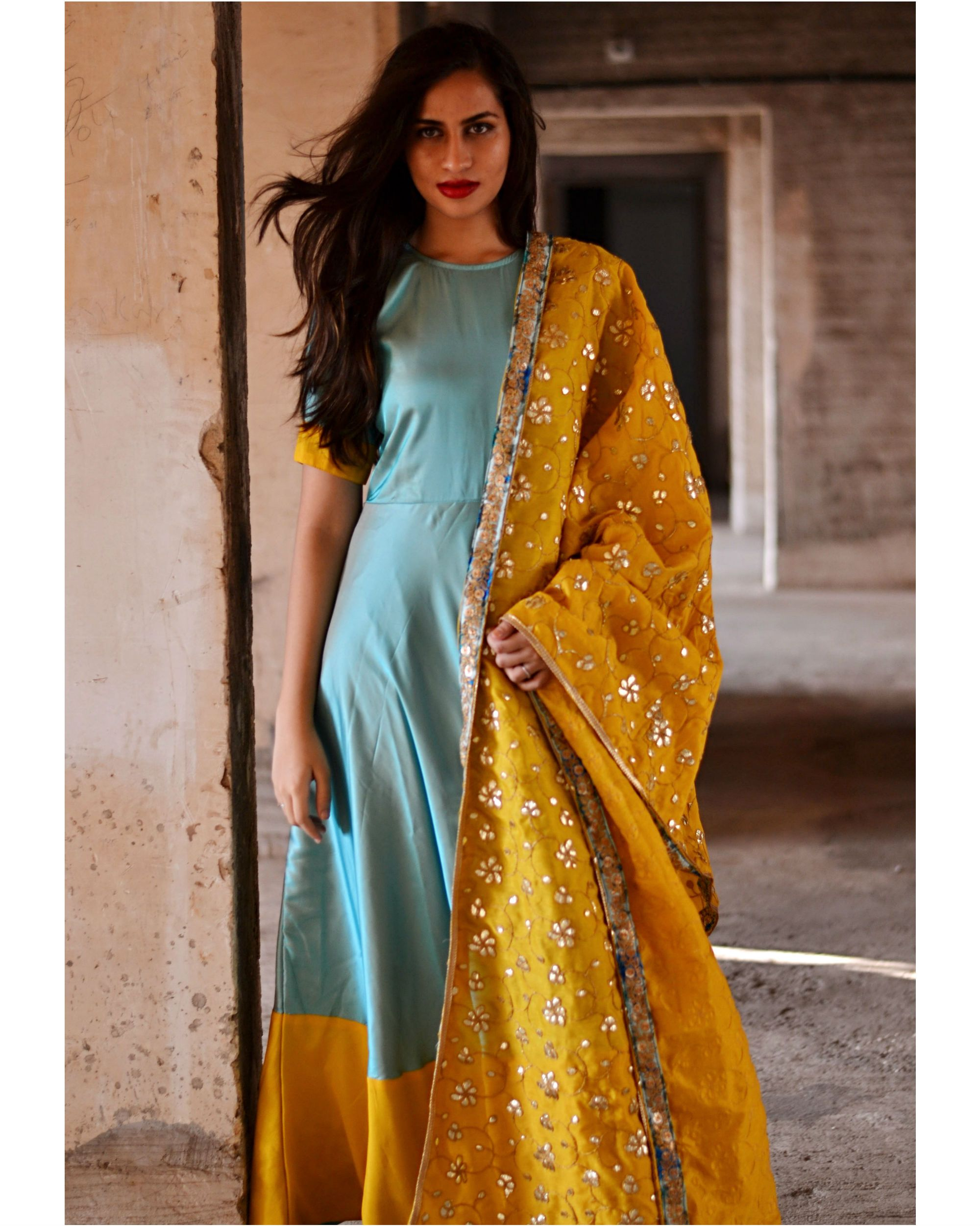 0f4abaaea2 Blue and yellow dress with dupatta by Tie   Dye Tale